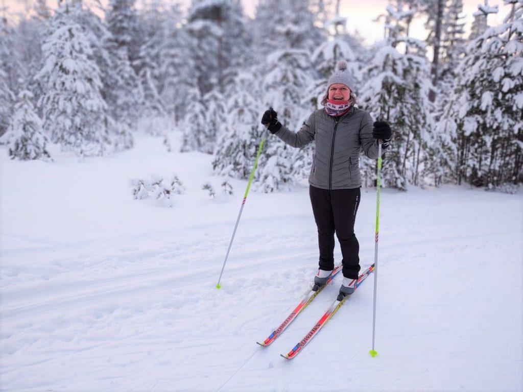 Erika skiing